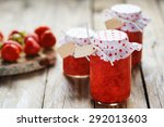 fresh strawberry homemade jam... | Shutterstock . vector #292013603