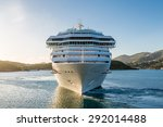 white luxury cruise ship in bay ... | Shutterstock . vector #292014488