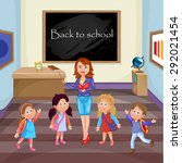 teacher and school kids. | Shutterstock . vector #292021454