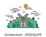 thin line flat design of... | Shutterstock .eps vector #292036199