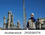 refinery worker with chemical... | Shutterstock . vector #292036574