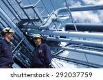 oil and gas workers with... | Shutterstock . vector #292037759