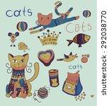 cute cat stuff vector... | Shutterstock .eps vector #292038770