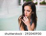 summer girl near fountain | Shutterstock . vector #292040930