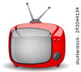 toy red television on a white... | Shutterstock .eps vector #292044134