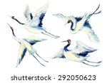 Stock photo watercolor flying crane bird set hand painted traditional illustration 292050623