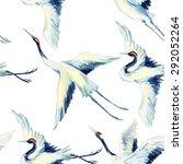 Watercolor Asian Crane Bird...