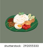 malaysia food nasi lemak | Shutterstock .eps vector #292055333