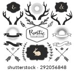 hand drawn antlers  bursts ... | Shutterstock .eps vector #292056848
