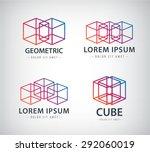 vector set of cube construction ... | Shutterstock .eps vector #292060019