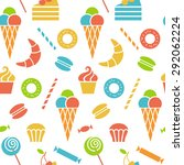 seamless pattern with sweet... | Shutterstock . vector #292062224