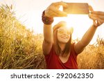taking selfie in nature  | Shutterstock . vector #292062350