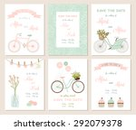 collection of 6 cute card... | Shutterstock .eps vector #292079378