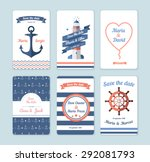 Wedding invitation card. Save the date, sailor theme. Set invitation - stock vector