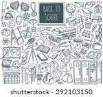 back to school doodle set.... | Shutterstock .eps vector #292103150