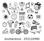hand drawn doodle sport... | Shutterstock . vector #292110980