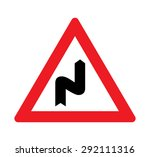 double bend warning of traffic... | Shutterstock .eps vector #292111316