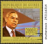 Small photo of GUINEA - CIRCA 2011: A stamp printed in Republic of Guinea shows Colin Luther Powell ( born 1934), general, series George H. W. Bush forty-first President of the United States, circa 2011