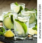 mojito cocktail with lime and... | Shutterstock . vector #292119284