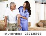 health care worker helping an... | Shutterstock . vector #292136993