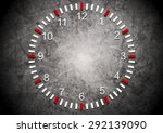 Abstract Clock On Grunge Wall....