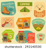 mountain climbing stickers... | Shutterstock .eps vector #292140530