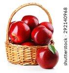 Red Apples In Wicker Basket...