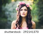 Pretty Brunette Girl With Curl...