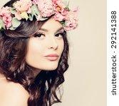 beautiful girl. fashion makeup... | Shutterstock . vector #292141388