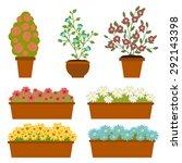 vector set of pot with flower....   Shutterstock .eps vector #292143398
