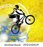 bmx rider. sport illustration | Shutterstock . vector #292143419