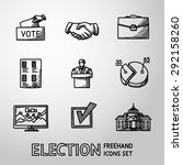 set of handdrawn election icons ... | Shutterstock .eps vector #292158260