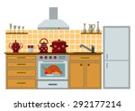 modern kitchen with furniture.... | Shutterstock .eps vector #292177214
