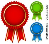 blank award ribbon rosettes in... | Shutterstock . vector #292188539