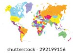 colored political world map... | Shutterstock .eps vector #292199156