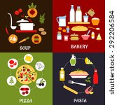 cooking process of pizza  pasta ... | Shutterstock .eps vector #292206584