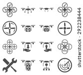 flying drone flat bicolor icons.... | Shutterstock .eps vector #292238444
