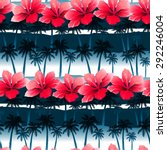 tropical hibiscus flowers in a... | Shutterstock .eps vector #292246004