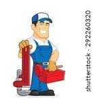 plumber holding tools | Shutterstock .eps vector #292260320
