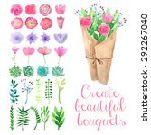 watercolor bouquet maker.... | Shutterstock .eps vector #292267040