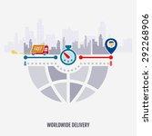 worldwide delivery truck... | Shutterstock .eps vector #292268906