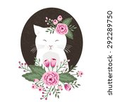 Hipster Kitty With Flowers On...