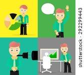 set of businessman pose... | Shutterstock . vector #292299443