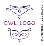 two owl logos with curls in... | Shutterstock .eps vector #292301030