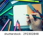 hand write on the notebook and... | Shutterstock . vector #292302848