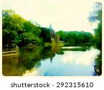water color painting brugge city | Shutterstock . vector #292315610