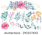 Vector floral set.Colorful purple floral collection with leaves and flowers,drawing watercolor.Colorful floral collection with flowers+1 beautiful bouquet.Set of floral elements for your compositions.
