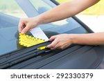 parking ticket placed under... | Shutterstock . vector #292330379