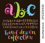 vector set with alphabet  funny ... | Shutterstock .eps vector #292333430