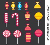 candys pixel icons set. old...   Shutterstock .eps vector #292334624